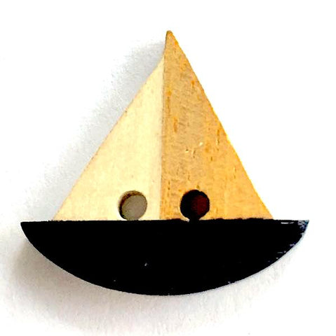 Boat Button, Wooden Sailboat Black and Tan, 3/4""