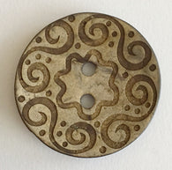 Large Spirals and Flower Etched Coconut Button 1-1/2""