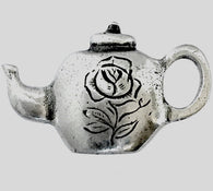 Teapot Rose Button, Pewter SALE 2.25 each