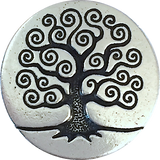 Silver Tree of Life Button #2, Black accents, Size 5/8""