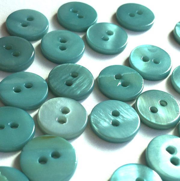 "Turquoise 7/16"" Shell Buttons TEN for $4.75."