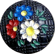 Blue Toile Large Porcelain Button by Kate Holliday