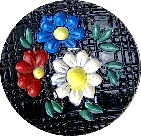 "Blue Toile 1-1/2"" Porcelain Button"