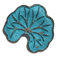 "Lotus Leaf Blue/Copper Button 1""  SALE $1.75  #SWC-28"