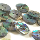 "Greens & Blues 5/8"" Vivid Abalone 2-Hole Button 15mm"