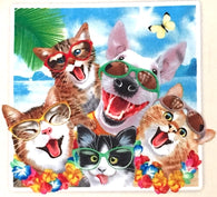 Dogs + Cats Beach Selfies Cotton Print, Last Piece