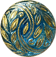 Sky Blue with Gold Laurel Leaves Czech Glass Button 3/4""