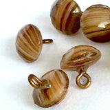 """Mocha Agate"" Brown Stripes Small Vintage Glass Buttons, # GL323"