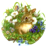 "Bunny in Flowers Pearl Button 1 - 3/8"" Artisan Made"