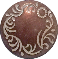 "Copper/White Flower Carving Button 7/8"" #SWC-32"