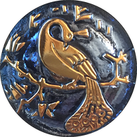 "Sapphire-Indigo Peacock Czech Glass Button, 22mm  7/8"" # CZ 247"