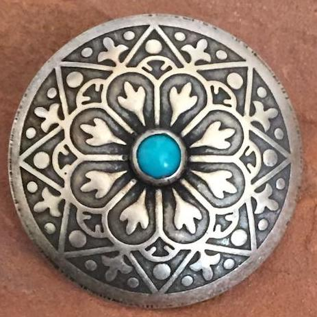 "Large concho button ""turquoise"" and silver Southwest"