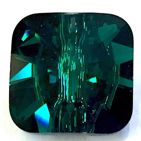 "Brilliant Emerald Green Swarovski Crystal Button 1/2"" Square 12mm"