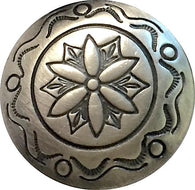 "Concho Button, Silver Flower + Hills, 7/8"" Southwest  #SW-19"