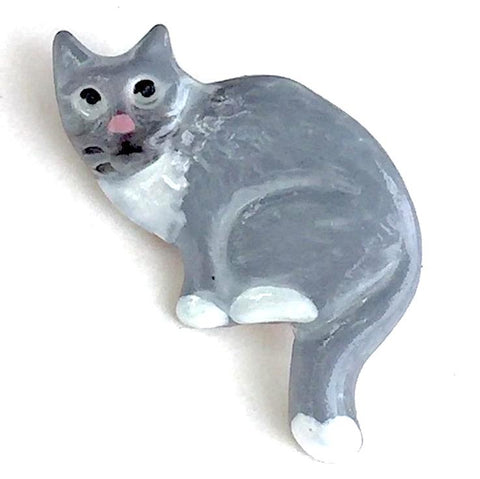 "SALE Gray Kitty Cat Handpainted Button 3/4"", 50 CENTS EACH!"