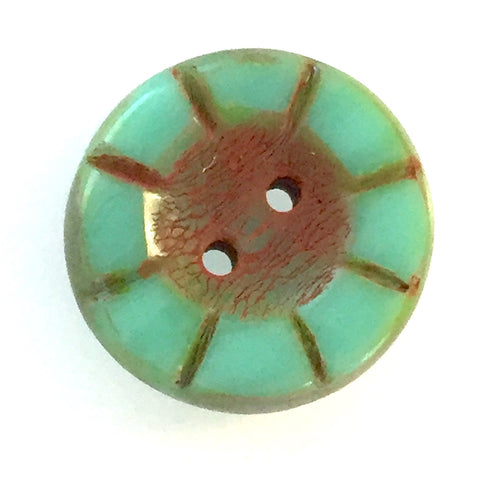 "Vintage Green & Rust Wheel-Flower Glass Buttons, 9/16"", Pack of Six"