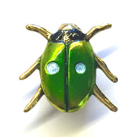 Tiny Bright Green Beetle / Insect Button by Susan Clarke Designs
