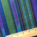 SALE $11.00/yd! Blue / Green Serape Stripe Soft Cotton, By the Yard #CHL-121