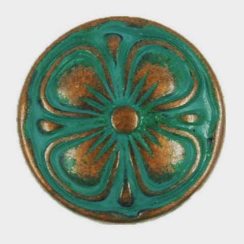 Green/Gold / Copper Desert Rose Clover Flower Button 5/8""