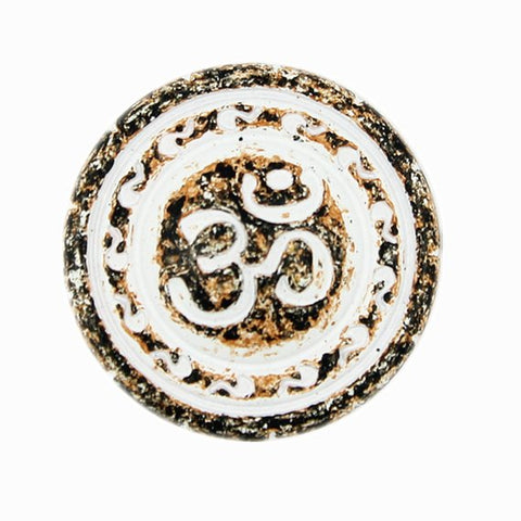 "OM Button 13/16"" copper / rust / white Om"