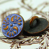 Tiny Purple Periwinkle and Copper Paisley Metal Button 7/16""