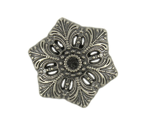Silver & Black Snowflake Button 3/4""