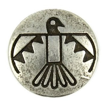 "Thunderbird Button, Silver and Black, 11/16"" shank back"