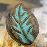 "Leaf Button, Copper and Blue-green patina 3/4"" shank back  #SWC-52"
