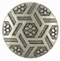 "SALE Flowers & Hexagons Gunmetal Button 13/16""  #SWC-26"