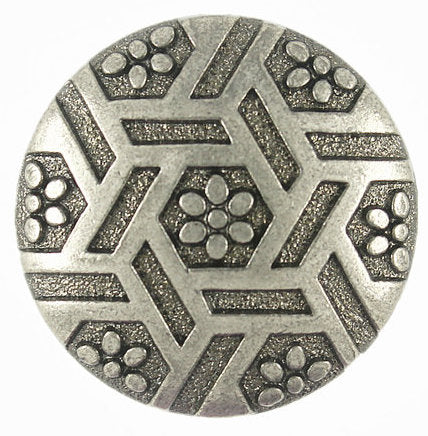 Flowers & Hexagrams Gunmetal Button