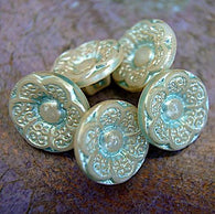 "Pearly Taupe/Green Vintage Czech Glass Flower 1/2"" 12mm  #OT-115"