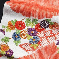 "Red-Orange with Faux Shibori, Maple Leaves Vintage Kimono Silk Pieces 14"" x 60""  #3803"