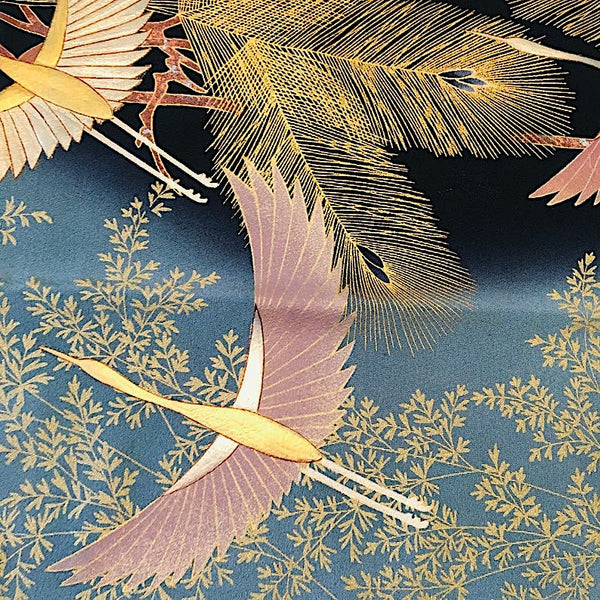 "Large Glimmering Cranes on Black Silk Kimono Pieces, 14"" x 68""   #39310"