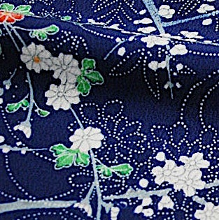 "Indigo Sky with Plum Tree Kimono Silk Crepe Pieces 6.5"" x 13.5""   #3917"