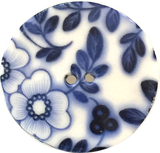 "Indigo/White ""Summer Night"" Round Porcelain Button, 5/8"", 7/8"", 1-1/8"" or 1-1/2"""