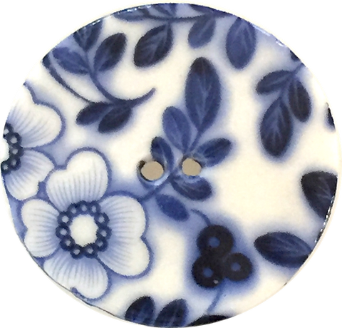 "Indigo & White Round Floral Porcelain Button, 5/8"", 1-1/8"" or 1-1/2"""