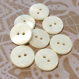 "Ivory / Off-White River Shell 5/8"" 2-hole Button, Pack of 8 for $8.00  #1771"