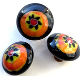 Small Rustic Vintage Black and Orange Glass Buttons, Japan # GL302