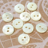 "3/8"" Off White / Ivory River Shell 2-hole Button, TEN for $8.00  #2244"