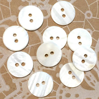 "White River Pearl Shell 5/8"" 2-hole Button, Pack of 8 for $7.50  #23126"