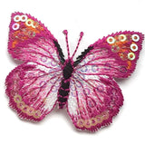 Pink, Blue or Brown Butterfly Sequin Applique Iron-On Patch