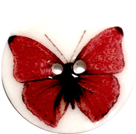 Red Butterfly Button, Porcelain, 15/16""