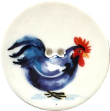 Blue-Black Rooster Chicken Large Porcelain Button 1-1/2""