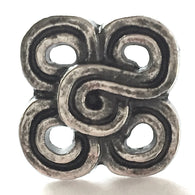 SALE Silver and Black Rustic Clover Square button 5/8""