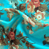 Fall Roses on Turquoise Drapey Sari Silk from India, Tussar by the Yard   #244