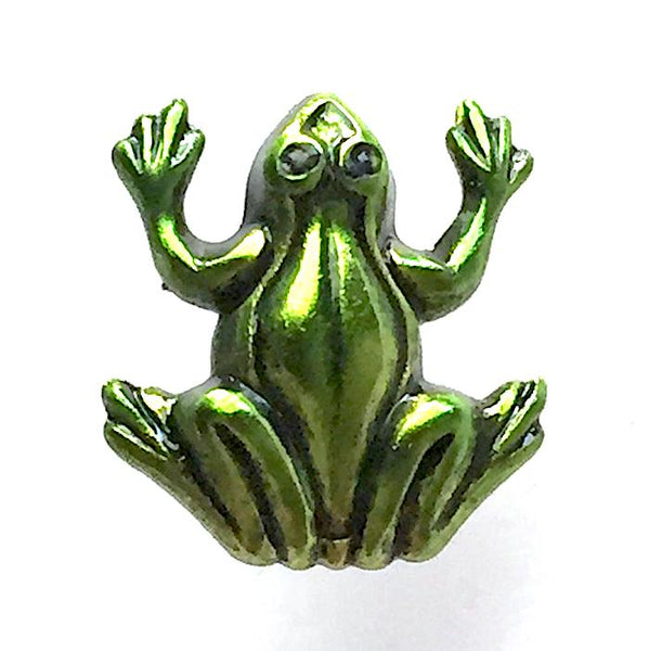 "Small Green Frog 1/2"" Artisan Enamel Metal Button"