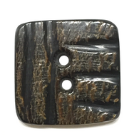 "Black, Gray and Brown Square Horn Button 1-1/8"" with Five Scratches  #0051"