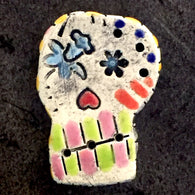 Crazy Sugar Skulls, Day of the Dead Artisan Ceramic Skulls 1-1/4""