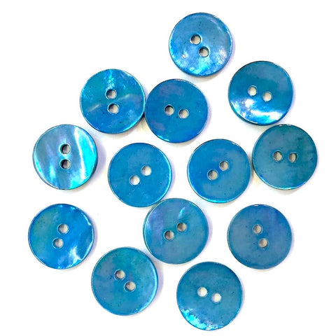 "Sweetwater Blue 5/8"" Shell Buttons, Pack of 8   #23157"
