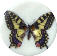 Tiger Swallowtail Butterfly Porcelain Button 1-1/8""
